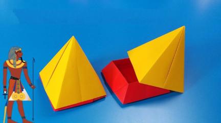 简单又好玩的折纸金字塔收纳盒,折好放在书桌上,用来放橡皮正合适!