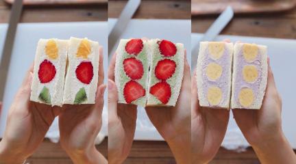颜值超高的水果三明治,酸甜可口春天必备!
