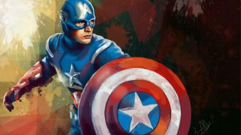 教你ps制作手绘风格《美国队长》——【嘿设汇】