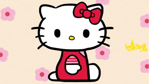 可爱的凯蒂猫的绘画视频哦~~看起来很简单