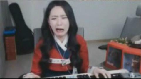 韩国女主播打lol哭