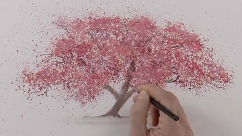 创意水彩画 教你画一棵樱花树