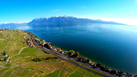 瑞士航拍Lavaux,Switzerlandin4k