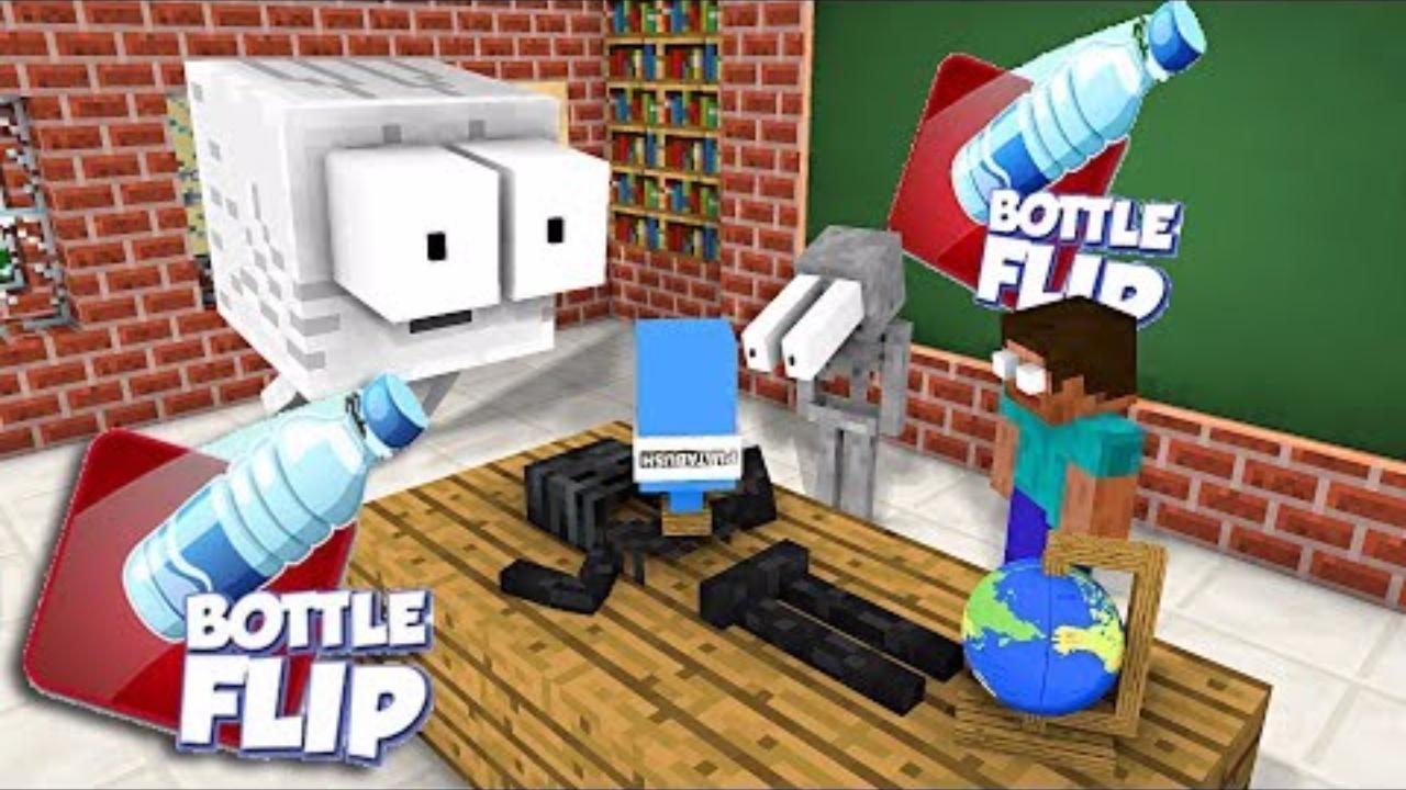 我的世界:怪物学院版我的世界超搞笑扔水瓶比赛Part1