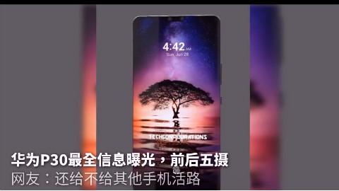 华为P30最全信息曝光,前后五摄,网友:还给不给其他手机活路