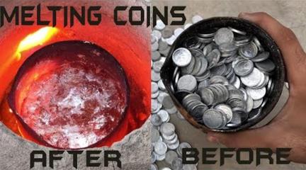 把1000个硬币高温熔化