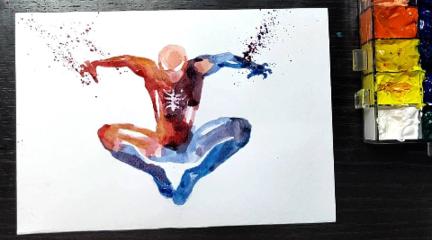 水彩画演绎:怎么画出很酷的水墨风,蜘蛛侠?
