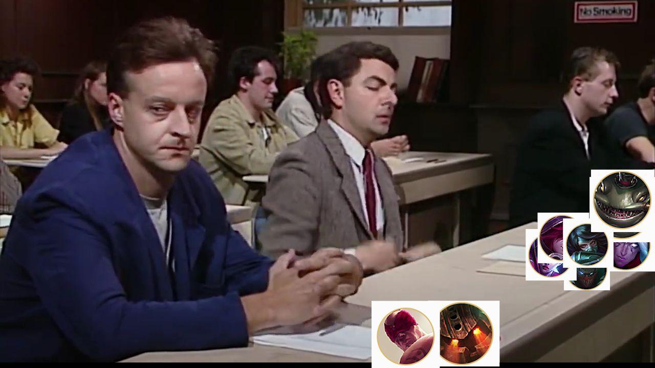 鬼畜调教,用憨豆先生完美还原fpx爆锤g2的情节。noTitle