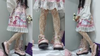 九:粉红色鞋/粉红色小裙子/配涞觅维纳斯丝袜真太奈斯啦