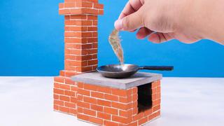 用迷你砖块制作的灶台,烧制一道美味的油爆虾