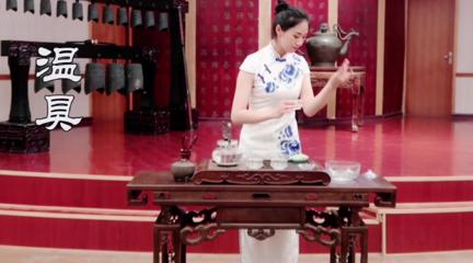旗袍美女茶艺表演,5个泡茶步骤详解,2分钟教你学会泡茶小技巧!