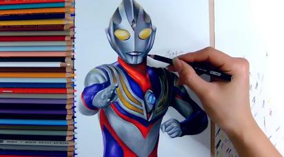 彩铅手绘:迪迦奥特曼。