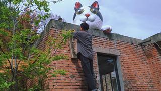 掰弯100根钢筋,在房顶打造硬核大肥猫,你爱了吗?